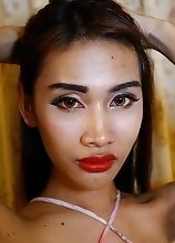 24 year old Thai ladyboy loves sucking and fucking tourists cock and balls