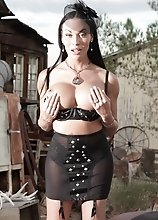 Busty Mia Isabella posing at the country side