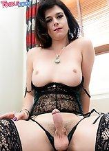 Kendall Penny pulls out her hard cock and talks dirty to you while stroking it with joy! Watch this hottie having a lot of fun in this solo scene!