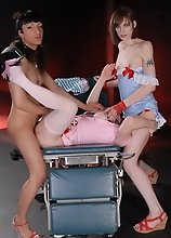 Tiffany fucks in TS nurse 3some