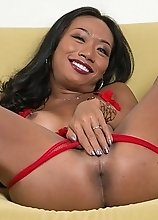 Cindy's super sexy see-thru red lingerie could not contain her raging hard on