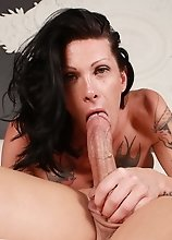 Horny Morgan rides a huge dick