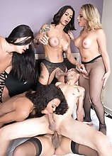 A lucky guy gets gangbanged bareback by 5 gorgeous Latina Tgirls!