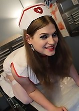 Dirty transsexual nurse Tiffany strips